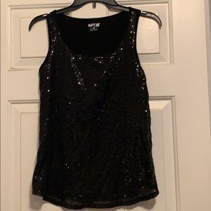 Black sequence tank top